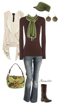 """Greens and browns"" by irene541 on Polyvore"