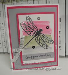 Stampin' Up!- a pretty dragonfly card using the new set- 'Dragonfly Dreams', doing the watercolor wash technique!