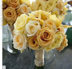 pastel yellow wedding flower bouquet, bridal bouquet, wedding flowers, add pic source on comment and we will update it. www.myfloweraffair.com can create this beautiful wedding flower look.
