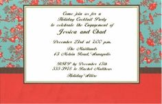 Blue and Red Toile Invitation