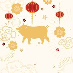 Year of the pig Chinese new year 2019 greeting background | free image by rawpixel.com / Kappy Kappy