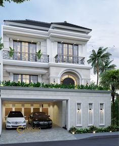 Indra Private House Design - Jakarta Barat- Quality house design of architectural services, experienced professional Bali Villa Tropical designs from Emporio Architect. Classic House Exterior, Modern Exterior House Designs, Classic House Design, Dream House Exterior, Modern Architecture House, Exterior Design, Best Modern House Design, 3 Storey House Design, Bungalow House Design