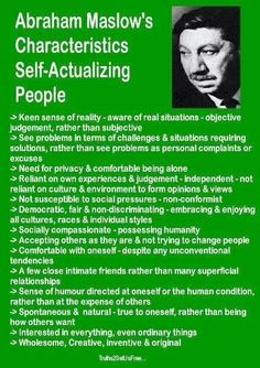 Abraham Maslow's Characteristics of Self-Actualizing People Leadership, Abraham Maslow, Under Your Spell, Self Actualization, E Mc2, Therapy Tools, Emotional Intelligence, Social Work, Self Development