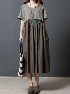 Vintage Women Short Sleeve Pocket Loose Mid-Long Dresses
