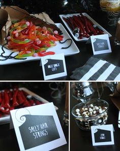 Nightmare before christmas party ideas 75 - Creative Maxx Ideas Christmas Birthday Party, Christmas Baby Shower, Halloween Birthday, Baby Halloween, Halloween Treats, 5th Birthday, Birthday Ideas, Halloween Candy Bar, Halloween Office
