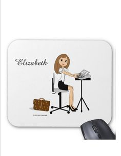 Court Reporter Mouse Pads - Brunette, Blonde, Auburn, Black Hair, African American - Personalized