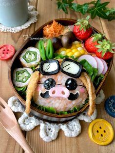 《キャラ弁》紅の豚からポルコ・ロッソの作り方♡イースターのお弁当 | ゚*.。.*゚Haママ手作りDiary*.。.*゚*. Japanese Lunch, Japanese Food, Cute Food, Good Food, Food Crafts, Food Humor, Kawaii, Creative Food, Food Design