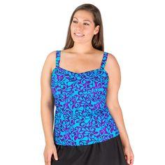 Flattering Plus Size Tankini Bathing Suit Top w/ A-line Cut, by Mazu | Pair w/ Our Women's Plus Size Swim Shorts, Board Shorts, Skirts