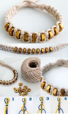25 + › {macramé: viereckiger knoten} string & hexnut armband DIY {macrame: square knot} thong and hexnut bracelet. Source by … Bracelets Diy, Bracelet Crafts, Macrame Bracelets, Diy Bracelets With String, Macrame Bracelet Tutorial, Colorful Bracelets, Diy Friendship Bracelets For Guys, Bracelets Pandora, Square Knot Bracelets