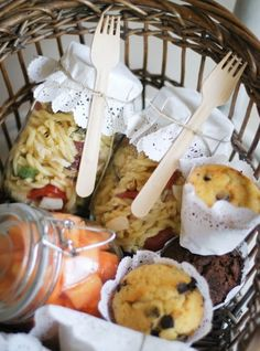 Doilies over the pasta salad container