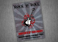Rock N Roll Poster Style Birthday Invitation  With or by nounces, $15.00