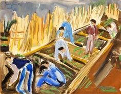 Artwork by Irma Stern, FIGURES WORKING IN THE FIELD, Made of gouache on card