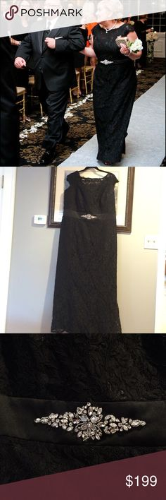 Black Lace Off the Shoulder Gown Amazing mother of the bride dress with rhinestone embroidery belt! Only worn once. Great condition!! Tailored to my body which is street size 16. Jordan Dresses Wedding