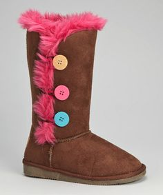 Love this Brown Faux Fur Button Boot on #zulily! #zulilyfinds