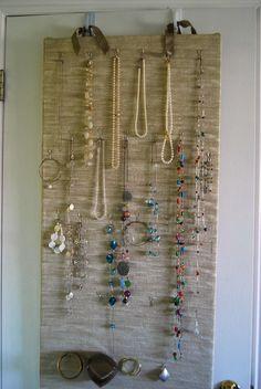 Jewelry Organizer Closet Door or Wall Hanging (PDF Instructions). $6.00, via Etsy.