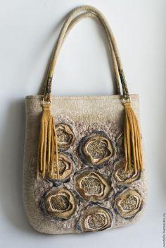 """Купить Сумка валяная """"Нежное золото"""" - бежевый, цветочный, сумка светлая, валяная сумка, фактура"""