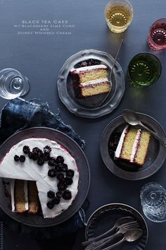 Black Tea Cake with Blackberry Curd and Honey Whipped Cream via Bakers Royale