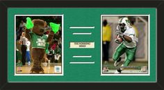 Two framed 8 x 10 inch Marshall University photos of Marshall University Mascot with a customizable nameplate*, double matted in team colors to 24 x 12 inches.  The lines show the bottom mat color.  $79.99 @ ArtandMore.com