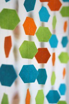 Hexagon Garland // 6 yards // 3 colors // Benzie