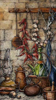 Каминская Мария. натюрморт с чесноком и перцем