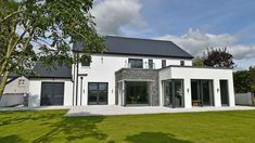 This contemporary new family home in South Mayo is a Project recently completed by Simon Beale + Associates. We led the clients from the initial design and planning consultation, to on site supervi… House Designs Ireland, Houses In Ireland, Ireland Homes, Contemporary House Plans, Rustic Contemporary, Stone Exterior Houses, Harewood House, House Outside Design, Self Build Houses