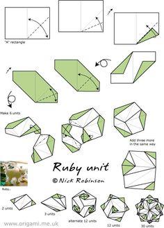 diagramme origami modulaire kusudama Ruby Unit (Nick Robinson)