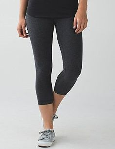 8bfcdfc73d99 Lululemon Wunder Under Crop III Cotton Yoga Pants Heathered Black (2) these  are SO