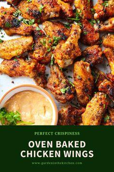 Dry Rub Chicken Wings, Baked Chicken Wings, Chicken Wing Recipes, Crispy Oven Baked Chicken, Chicken Pasta Bake, Yum Yum Chicken, Lunch Ideas, Appetizer Recipes, Bulking Season