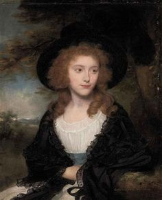ca. 1791 Lady Georgiana Beauclerk, half-length, in a silk gown, with a black hat and shawl, a landscape beyond by Sir William Beechey