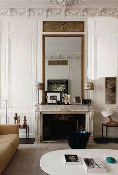 Pied-à-terre in Paris, love the moldings, mirror & ceiling detail