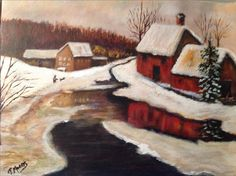 """""""Red Barn"""" painted by Terry Morris. Notice how well the show lays on the ground and nice reflections of the buildings too. Excellent."""
