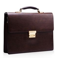 Professional Brown Business Leather Square Briefcase | luxurywearhouse.com