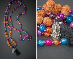 BOHO HINDI MALA long necklace bracelet // Ganesha pendant /