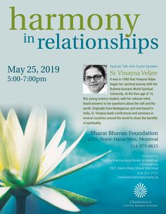 Harmony in Relationships - A Talk with Sr. Vinayna Veljee in Montreal on May - Bharat Times Relationship Talk, Relationships, Brahma Kumaris, Unity In Diversity, Guest Speakers, May, Montreal, Spirituality, Mindfulness