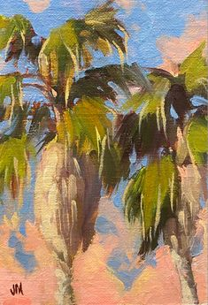 Small oil study on canvas of palms at sunset. DM for more information Jim@JimMcConlogue.com Limited Edition Prints, Palms, Art Oil, Vintage Posters, Giclee Print, Study, Fine Art, Sunset, Landscape