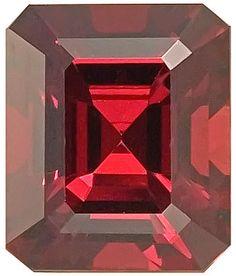 Genuine Rhodolite Garnet Loose Gemstone, Red Violet Color, Emerald Cut, 12.2 x 10.4 mm, 8.1 Carats at BitCoin Gems