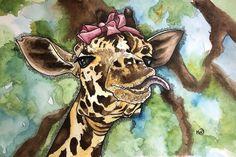 Goofy Girl Canvas Art Print by Kim Winberry | iCanvas Canvas Frame, Canvas Wall Art, Giraffe Art, Watercolor Paper, Wood Print, Canvas Art Prints, Fine Art Paper, Art Girl, Framed Art