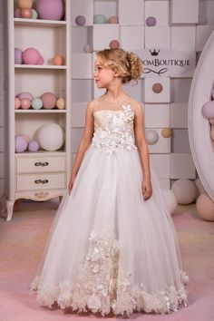 Ivory and Beige Flower Girl Dress  Wedding Party Holiday