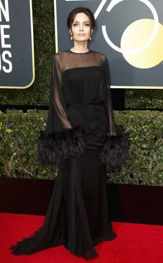 Angelina Jolie from 2018 Golden Globes Red Carpet Fashion
