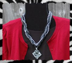 Main Event Necklace with the Artistic enhancer. I love this necklace with a black blazer and a pretty white shell or V-neck blouse.