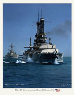 USS Idaho with USS Texas astern of her.