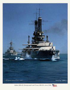 USS Idaho with USS Texas astern of her.