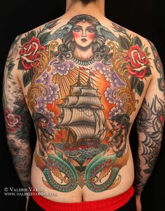 Full back piece by Valerie Vargas // traditional style tattoos // Frith Street Tattoo, SoHo London