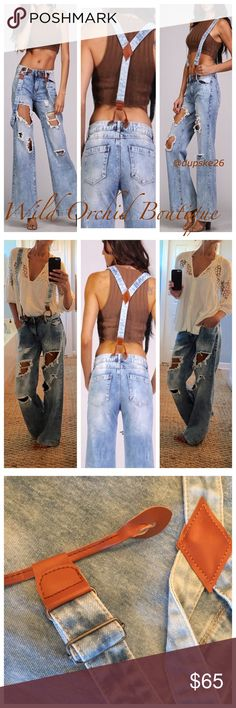 "💋THE BAD GIRL JEANS 💋 INCREDIBLE Wide Leg Distressed Denim. I am totally in love with these. If you love Free People, you will love these & the price compared to FP :). Wear w/or without suspenders  These offer all the trend on denim with the distressed along with the wide leg and the ever so cute fully adjustable suspenders! Run TTS. Gorgeous wash! Inseam 32.5"" **Qtys Ltd: 1-26  1-28  1-29  Left    Style #P105  •Please use ""Buy Now"" or "" Add to Bundle"" feature to purchase. Ty💕 Boutique…"