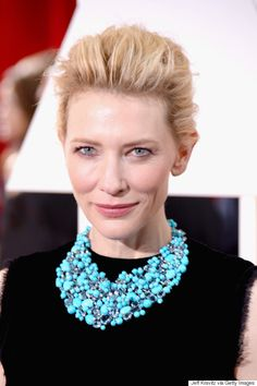 Cate Blanchett provided a pop of turquoise color to her all black gown, proving that jewelry can pull an entire outfit together.