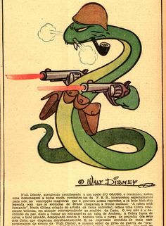 """Honor. Walt Disney cartoon with the symbol of FEB, made by Brazilian soldiers in the 2nd World War, was published in the newspaper """"O GLOBO Expeditionary"""""""