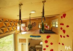 A rock climbing wall in a tiny house? Browse more photos from the Climber Tiny House gallery, only on FYI. Tiny House Nation, Home Climbing Wall, Rock Climbing, Indoor Climbing, Tiny House Living, Living Room, Tiny House On Wheels, Tiny House Design, Interior Exterior