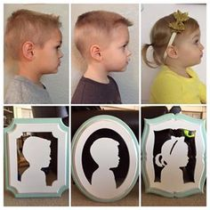 Such sweet little profiles! The little girl on the right had two pigtails that were a bit tricky to make- but I'm excited because I think it turned out cute! And mom liked it too. :) I also think it's adorable when customers order silhouettes in different shapes but the same color. ❤️❤️❤️ #vonjetsilhouettes #vonjet #walldecor #homedecor #handmade #woodsilhouette