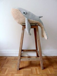 This wicked cute big Whale made by hand is 90cm long (35.4 inches)  Made from Cotton jersey (top) and 100% cotton faux fur (bottom), Stuffed with