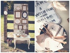 vintage wedding welcome table